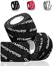 Gymreapers Weightlifting Adhesive Thumb Tape, Stretchy Athletic Tape Grip & Protection for Olympic Lifting, Cross Training, Powerlifting, Hookgrip (Black, 3 Rolls)