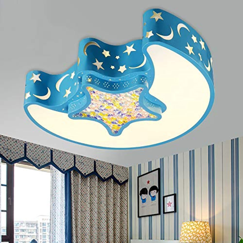 Stern-Mond-Schlafzimmer LED-Deckenleuchte einfache moderne mnnliche Mdchen Zimmer Fernbedienung Kinderzimmer Licht, 48  48cm36W FarbeNachtlicht