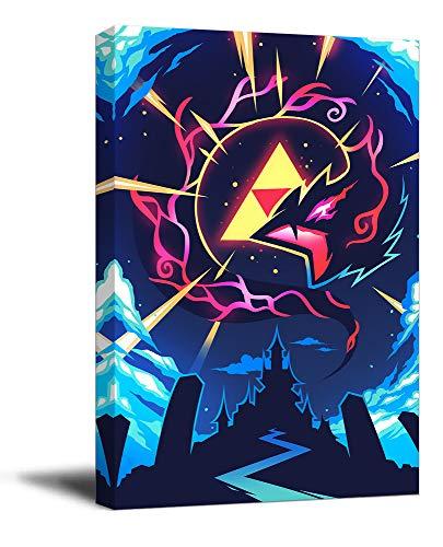 The Legend of Zelda Breath of the Wild Office Art Art Art - Poster enmarcado de madera para videojuegos, diseno de Hyrule Warriors Link Art de oficina, estirado y listo para colgar