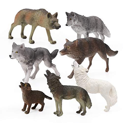 7Pcs Wolf Toy Figurines Set Wolf Animals Figures (Wolf Set A)