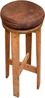Hide & Drink, Leather Rounded Stool Cover w/Zipper, Diameter 12 in. Height 2 in, It Comes Filled But Can Be Filled with Any Material/Seat Cushion/Decorative Pillow, Handmade :: Bourbon Brown
