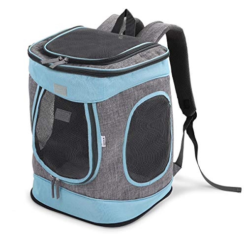Navaris Mochila para Transportar Mascotas -Transportín Plegable Porta Mascota - Bolso Acolchado Transpirable para Gatos Cachorros de máx. 15 KG