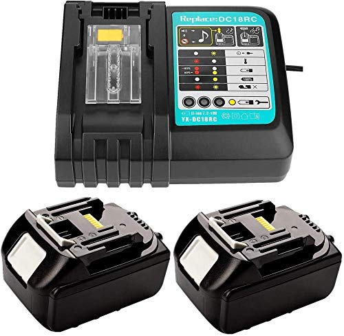 BAONIOU Caricabatterie sostitutivo con 2 batterie 18V 5.0Ah per Radio da Cantiere Makita 18V DMR 108 DMR110 DMR107 DMR 112 DMR104 DMR106 Batteria Radio 18 Volt