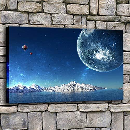 Puzzle 1000 Piezas Islandia Luna Planeta Globo aerostático Imagen Arte Aurora Pintura Puzzle 1000 Piezas paisajes Juego de Habilidad para Toda la Familia, Colorido Juego de ub50x75cm(20x30inch)