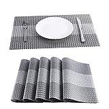 BaoWnylz Platzset - Tischsets Abwaschbar 6er Set(45*30cm) - Hitzebeständig und Abwischbar Grau Platzdeckchen - Mit Pailletten eingelegtes Platzmatten aus PVC-Gewebe