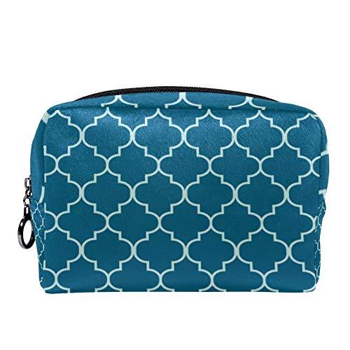 TIZORAX marokkanische Aquamarinfarbene Make-up-Tasche für Frauen, Hautpflege, Kosmetik, Handtasche mit Reißverschluss