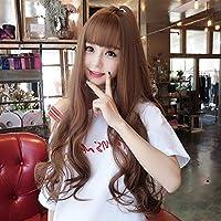 HongJie Hou 李呉大秀ウィッグネットは、自然の空気前髪ウィッグ女性の長い巻き毛をバラ (Color : Light Brown)