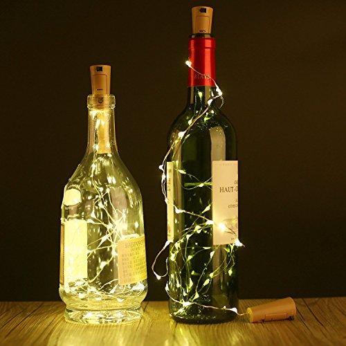 3 pcs 15 LED 75 cm de bouteille de vin de liège solaire en liège cuivre en forme de lampe de bar pour bouteille bricolage, fête, décoration intérieure, mariage, Noël et Halloween Blanc
