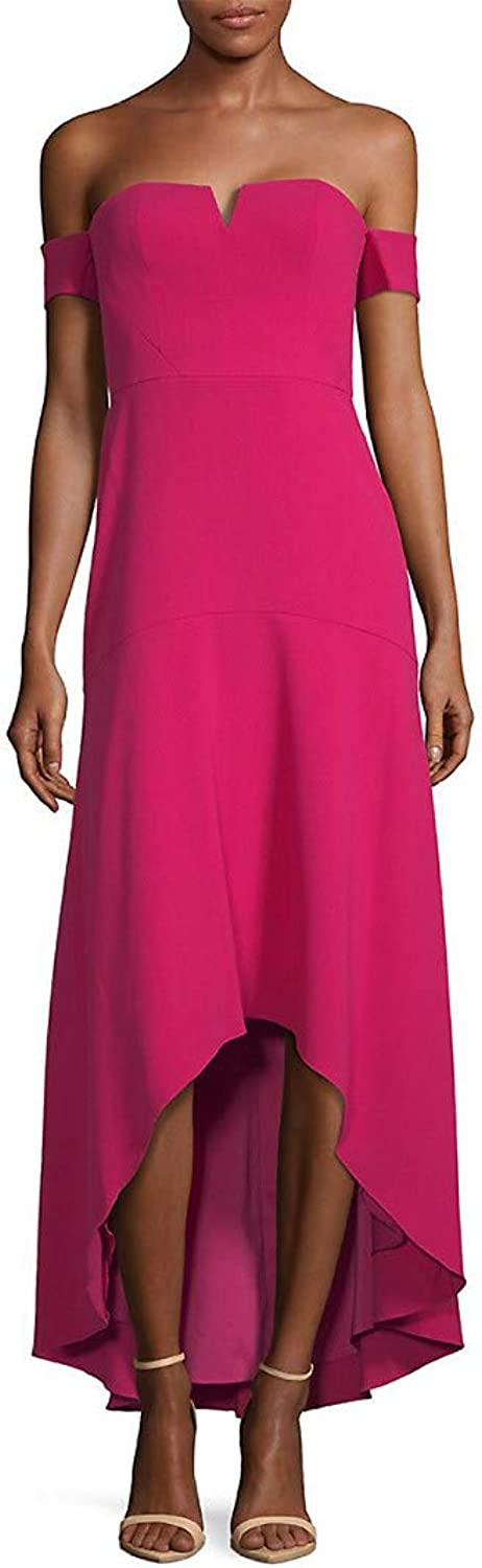 Aidan Mattox Womens Off The Shoulder Crepe HighLow Gown