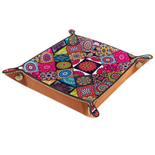 KAMEARI Bandeja de cuero vintage colorida india con patrón de azulejos étnicos para llaves, teléfono, monedero, cuero de vacuno, práctica caja de almacenamiento para carteras, relojes, llaves, monedas