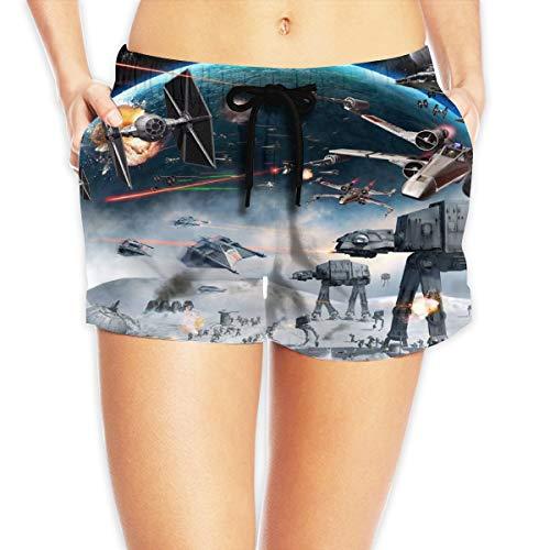 HADIHADI Star Spaceship Wars mujer impreso playa pantalones cortos con cordón Junta femenina pantalones traje de baño fondos playa Boardshort Blanco blanco L