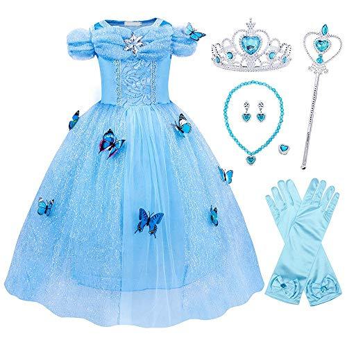 RIFENIK Abito Principessa Cenerentola, Multi Accessori, Tessuto Anallergico Abito o Vestito per Feste, Compleanni, Cerimonie, Halloween e Carnevale… (110)