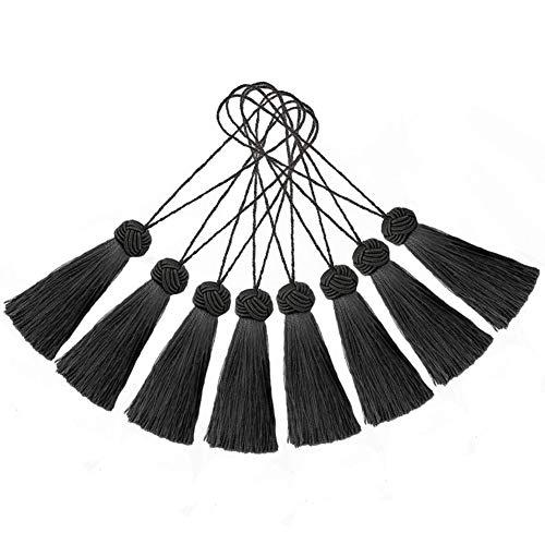 BEL AVENIR Set von 8 eleganten Polyester-Quasten, bunte Bastel-Quasten, Charms, Schlüsselquasten, DIY-Zubehör (Anthrazit)
