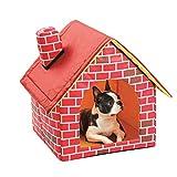 Cama Para Perros Extraíble Y Lavable De Ladrillo Rojo Para Mascotas, Casa De Ladrillo Portátil Para Mascotas Con Chimenea, Caseta De Chimenea Para Habitación Individual, 39x40,5x44 Cm, Ladrillo Rojo