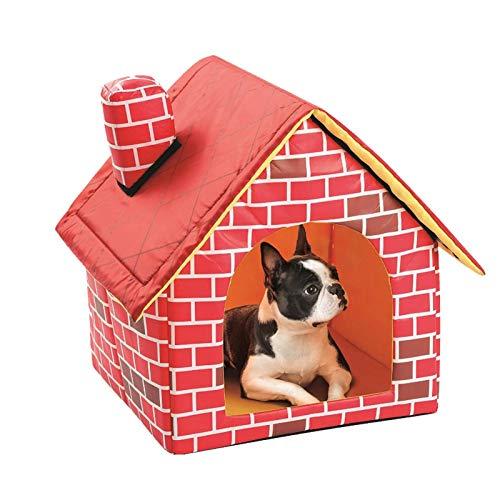 Cuccia e cucciolo di cane 2 in 1 in mattoni rossi per animali domestici, pieghevole, morbida, calda cucciolo di cane, cucciolo, cucciolo, letto per cani rimovibile e lavabile.