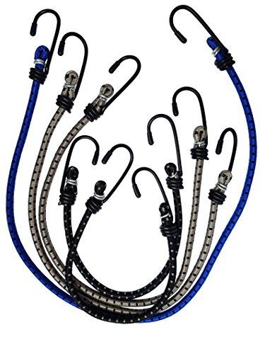 Doratex 5er Set elastiche Spanngummis Spanngurte Spannseile in 3 Längen mit Haken, extra dehnbar