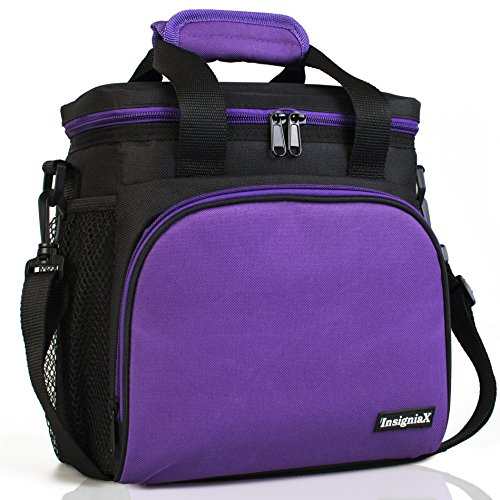 Insulated Lunch Bag S1/S2: InsigniaX Lunch Box/Cooler/Lunchbag for Adult Women Men Work School Picnic Girls Boys With Strap Bottle Holder H: 10' x W: 5.1' x L: 9.2' (Standard, Purple)