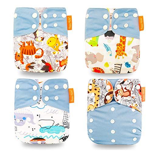 HahaGo Baby Stoffwindel waschbar wiederverwendbare Windeln All-in-One-Taschenwindel für die meisten Babys und Kleinkinder (Hellblau, Affe + Katze)
