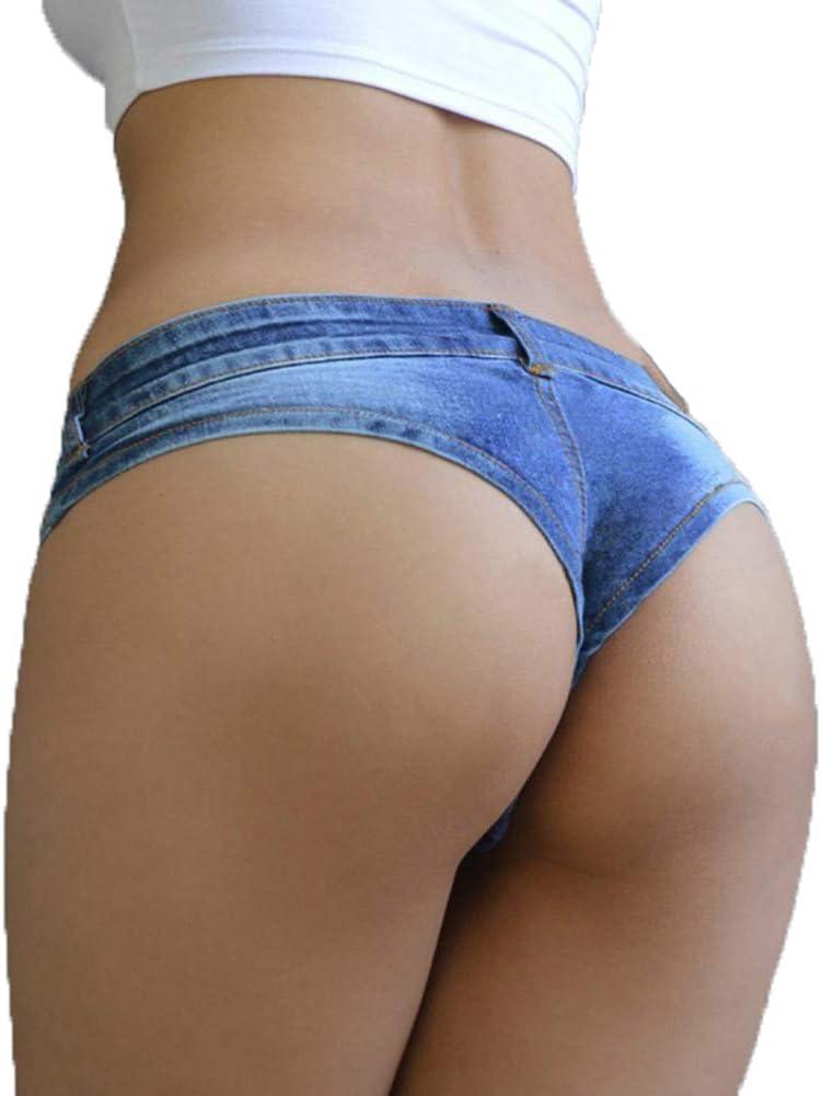 Sexy Women's Denim Shorts, Button Low Waist Super Mini Frayed Hem Triangle Denim Shorts,S