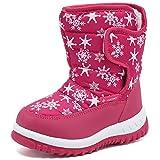Boys Girls Winter Boots Waterproof Lightweight Kid Snow Boots with Fur Outdoor (Toddler/Little Kid/Big Kid),U219WMXTB002-Pink-28