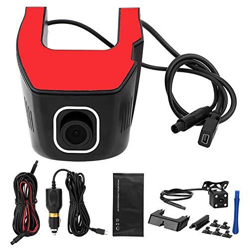 KIMISS Car Dash Cam Driving Recorder, 170 ° WiFi HD anteriore 1080P posteriore 720P Dash Camera doppia lente Videoregistratore DVR