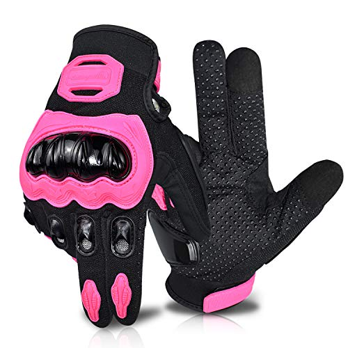 ELCYCO Motorcycle Gloves for Women Touch Screen Summer Motorbike Dirt Bike Full Finger Gloves Road Racing, Cycling, Climbing Motocross (Pink, Large)