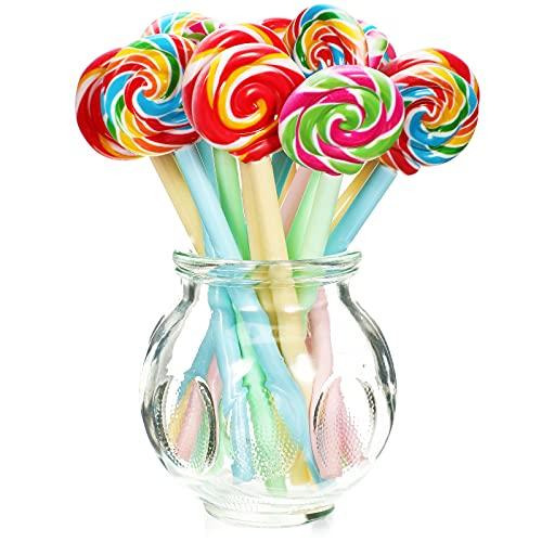 Lollipops Shaped Pen Cute Candy Rollerball Pen Multicolor Lollipops Ballpoint Pen Rainbow Swirl Gel Ink Pen for Students Children (20 Pieces)