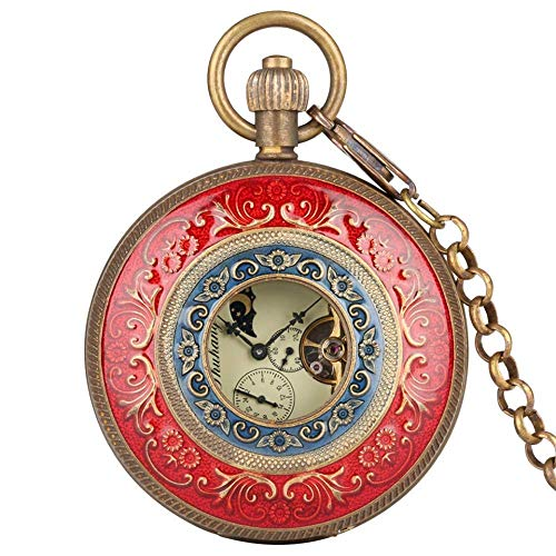LYMUP Reloj de bolsillo, talla roja, cadena de viento, doble cara abierta, Tourbillon, relojes de hombre, reloj masculino, regalo de vapor (color: rojo)
