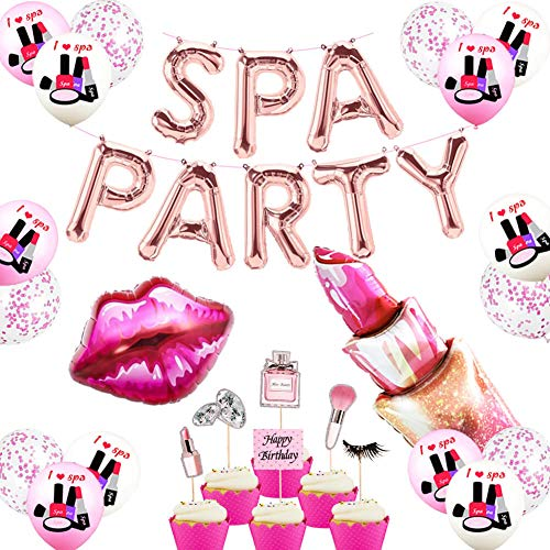 Spa Day Party Decorations Rose Gold Spa Party Balloons Banner Spa Cake Topper Inflatable Lipstick Red Kissy Lips for Girls MakeUp/Salon/Nail Spa Theme Birthday Party Supplies