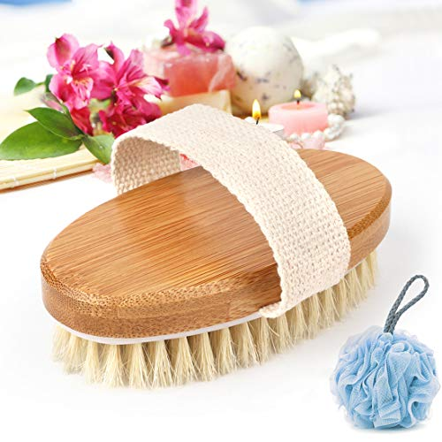 Bamboo Bath Body Brush Dry Skin Brushing with Loofahs Sponge - Shower Brushes with 100% Natural Boar Bristles for Exfoliating and Cellulite - Suitable for MenWomen