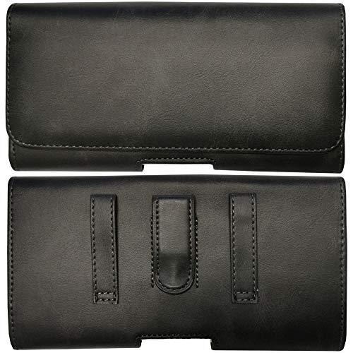 MOELECTRONIX Gürtel Tasche passend für Samsung Galaxy S20 FE (Fan Edition) | Seiten Quer Schutz Hülle Gürteltasche mit Gürtelclip & Gürtelschlaufe | 1A Schwarz