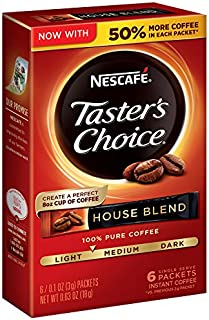 Nescafe Taster's Choice Instant Coffee, House Blend, 0.1 Ounce, 6 Count (Pack of 12)
