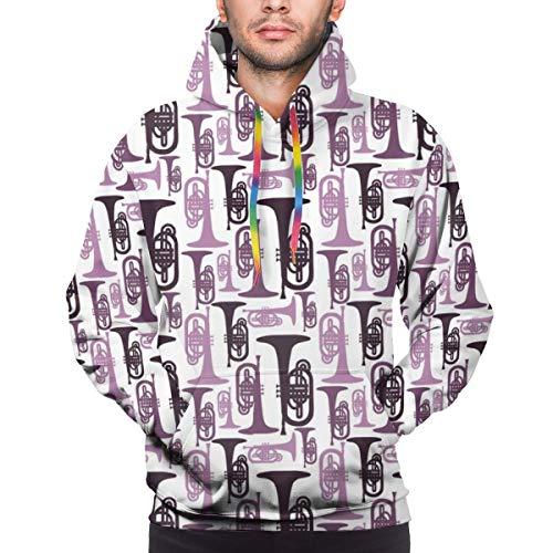 ruziniujidiangongsi Custom Mens Hoodie Sweatshirt Pullover Purple Mellophones