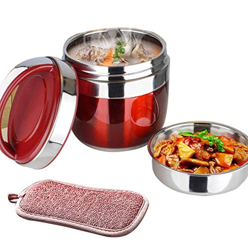 GENRIC Recipiente de vacío de Acero Inoxidable, Recipiente para Alimentos para Mantener el Calor, Termo para Comida Caliente para Niños y Adultos,Red,1.5L
