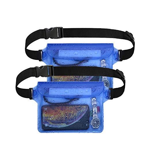 flintronic Bolsa Impermeable, 2 PCS Riñonera Impermeable IPX8 con Correa de Cintura Ajustable y Pantalla Táctil Transparente, Adecuado para Nadar a la Deriva, Kayak, Pesca en Bote - Azul