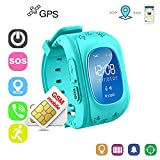 Winnes Reloj Localizador Niños GPS Localizador Niños Pulsera Pulsera Niños Seguridad GPS Reloj Niña GPS Smartwatch Niños Localizador GPS Seguimiento en Tiempo Real,Podómetro (Azul)
