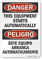 注意サイン-危険:この機器は自動的に起動します。通知のためのインチ通りの交通危険屋外の防水および防錆の金属錫の印