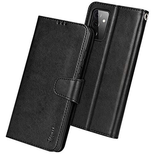 Migeec Handyhülle Kompatibel mit Samsung Galaxy A72 4G 5G Leder Hülle Tasche Flip Cover Schutzhülle - Schwarz