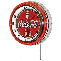 COCA COLA 18 DOUBLE NEON LIGHT CHROME CLOCK BOTTLE SIGN COKE SODA CAN GLASS FOUNTAIN DRINK by Coca-Cola