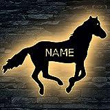Rennpferd Tier LED ,Spielzeug Pferd personalisiert mit Wunsch Namen Lasergravur Schlummerlicht Nachtlicht für Kinderzimmer Geschenk