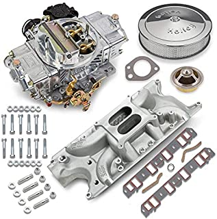 NEW HOLLEY STREET AVENGER CARBURETOR & WEIAND STREET WARRIOR INTAKE MANIFOLD COMBO,670 CFM,STRAIGHT,4 BBL,GASOLINE,VACUUM SECONDARIES,ELECTRIC CHOKE,COMPATIBLE WITH SMALL BLOCK FORD