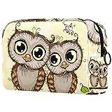 Bolsa de cosméticos Bolsas de Maquillaje para Mujeres, pequeña Bolsa de Maquillaje Bolsas de Viaje para artículos de tocador - Saludo a Dos Lindos búhos de Dibujos Animados
