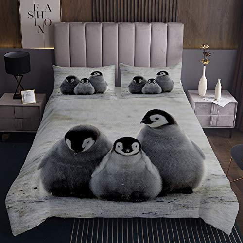 Pinguin Steppdecke Karikatur Pinguin Tagesdecke 220x240cm für Kinder Lustiges süßes Polartier Bettüberwurf Schneeiger Winter Mit 2 Kissenbezug 3St