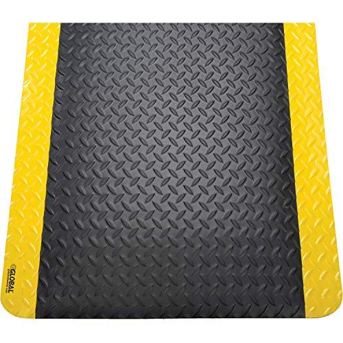 36' x 60' Diamond Plate Ergonomic Mat, 15/16' Thick, Black/Yellow Border