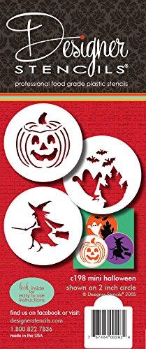 Designer Stencils Halloween-/Süßigkeitenschablonen (klein), Hexe - Irrlicht/Kürbisgesicht - Geister, beige/halbtransparent, C198