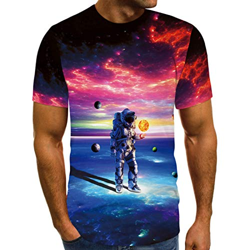 FUNEY Unisex Casual 3D Illusion Print Animals Short Sleeve T-Shirt Creative Funny Graphic Tees Tops for Women and Men Blue