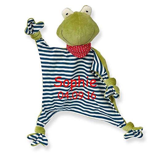 SL-Store GbR Sigikid Schmusetuch Green mit Namen Bestickt Baby Geschenk zur Geburt Schnuffeltuch Hase Maus Bär Hund Schaf Gans Tiger Frosch Dachs, Motiv Sigikid Baby:Frosch Green
