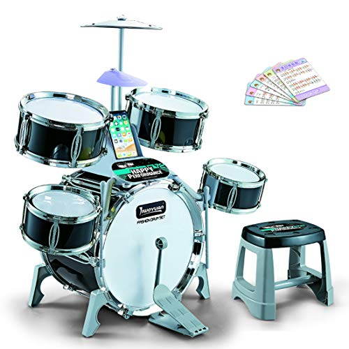 Haunen Schlagzeugset für Kinder, Schlagzeug Kinder Musik Instrumente Spielzeug mit 5 Trommeln und Hocker, Jazz Schlagzeug Schlaginstrument Set für Kinder