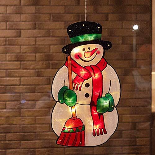 Luces decorativas navideñas Luz LED de silueta de muñeco de nieve navideño, lámpara de ventosa para ventana Luz de cadena de hadas para decoraciones de dormitorio árbol Navidad, funciona con pilas