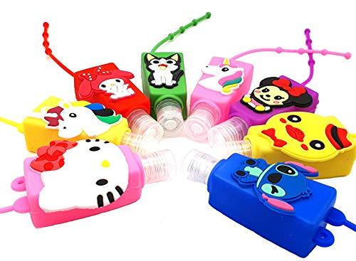 Pack de 3 recipientes para llavero de viaje portátil con diseño de dibujos animados para niñas, se vende con botellas vacías recargables de 30 ml, perfecto para la escuela y los viajes.